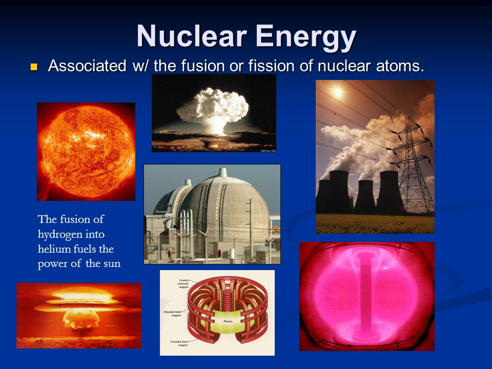 Nuclear Energy Associated w/ the fusion or fission of nuclear atoms.