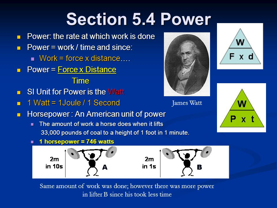 Section 5.4 Power Power: the rate at which work is done