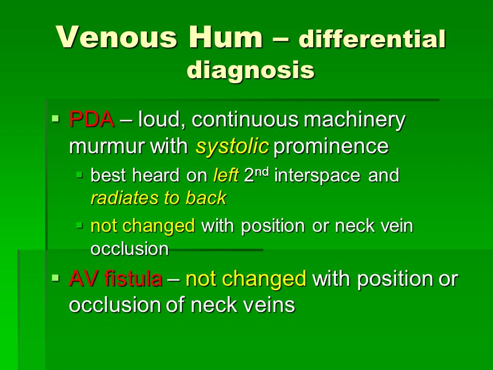 Venous Hum – differential diagnosis