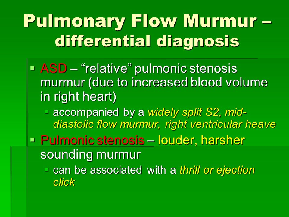 Pulmonary Flow Murmur – differential diagnosis