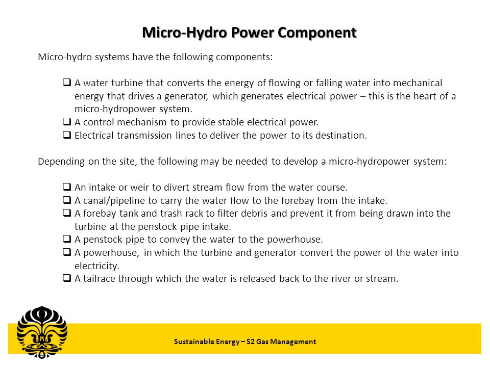 Micro-Hydro Power Component Sustainable Energy – S2 Gas Management