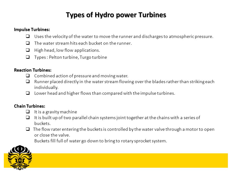 Types of Hydro power Turbines