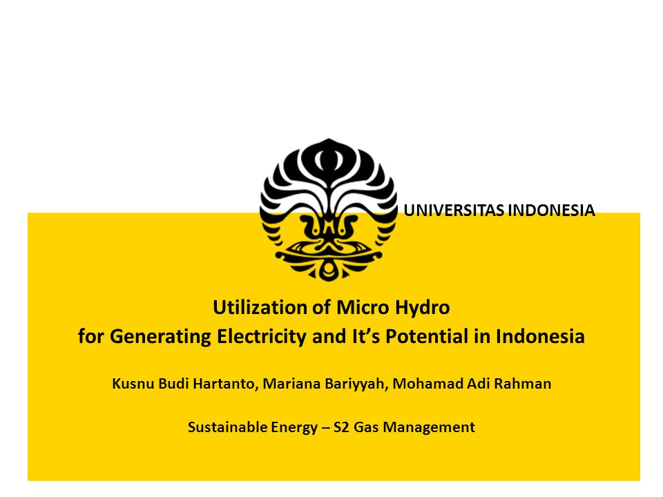 Utilization of Micro Hydro
