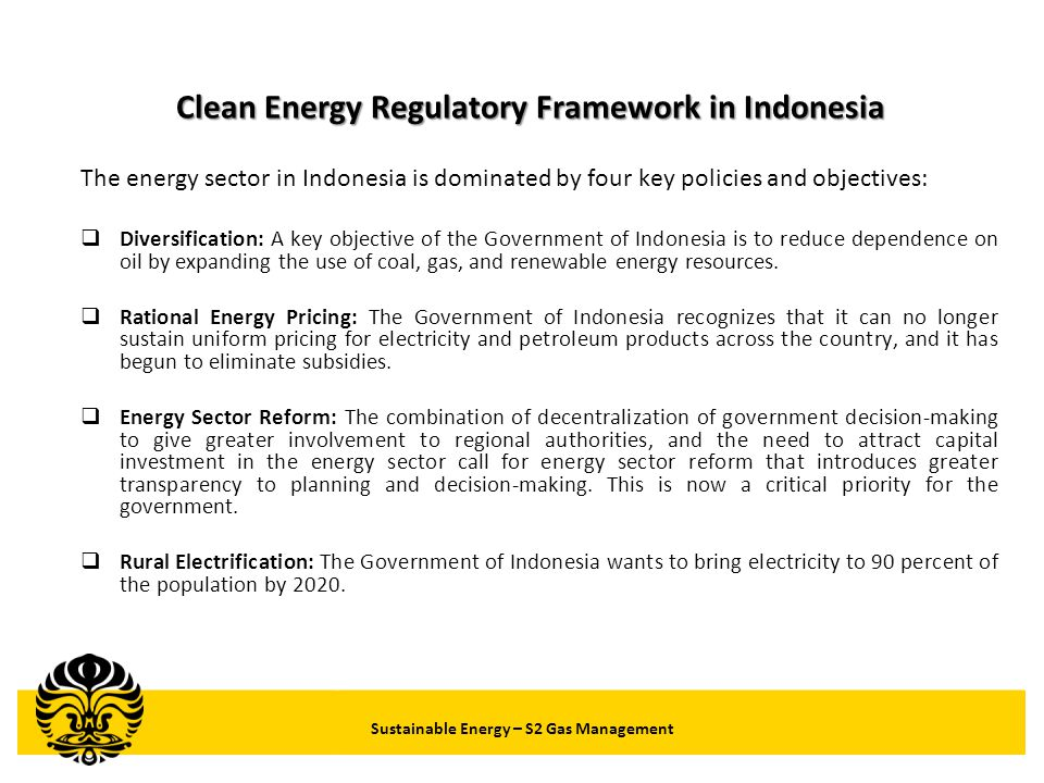 Clean Energy Regulatory Framework in Indonesia