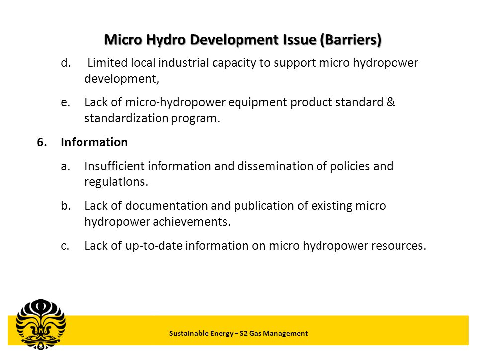Micro Hydro Development Issue (Barriers)