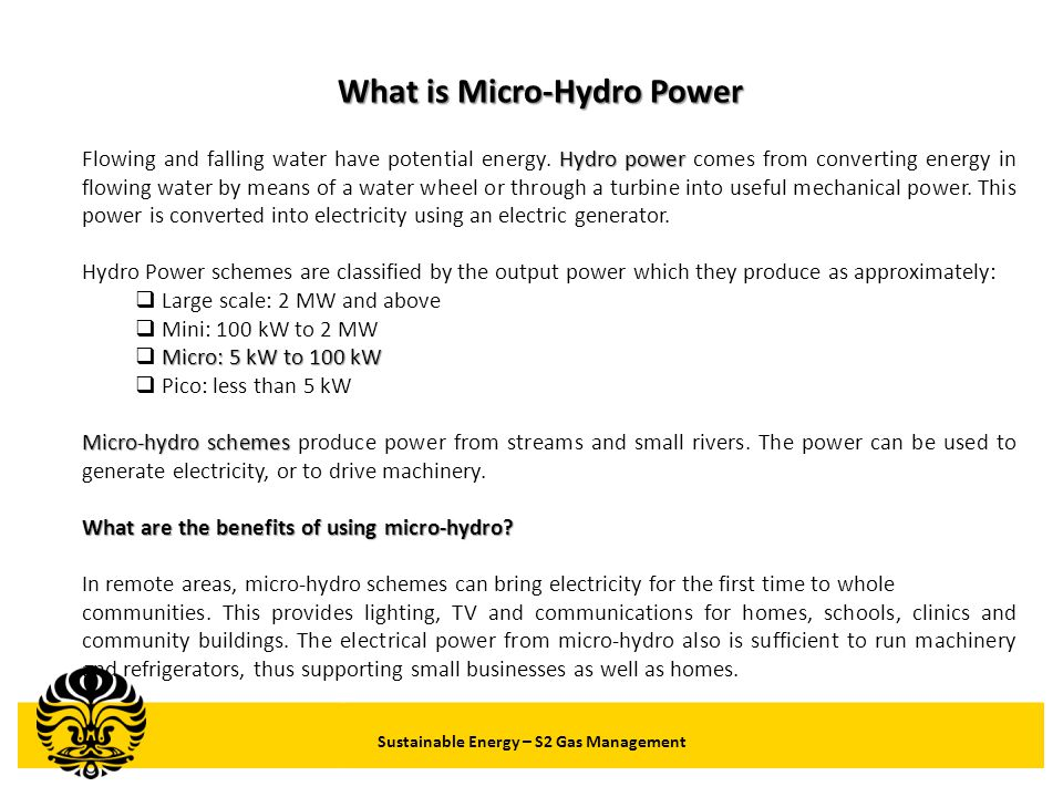 What is Micro-Hydro Power Sustainable Energy – S2 Gas Management