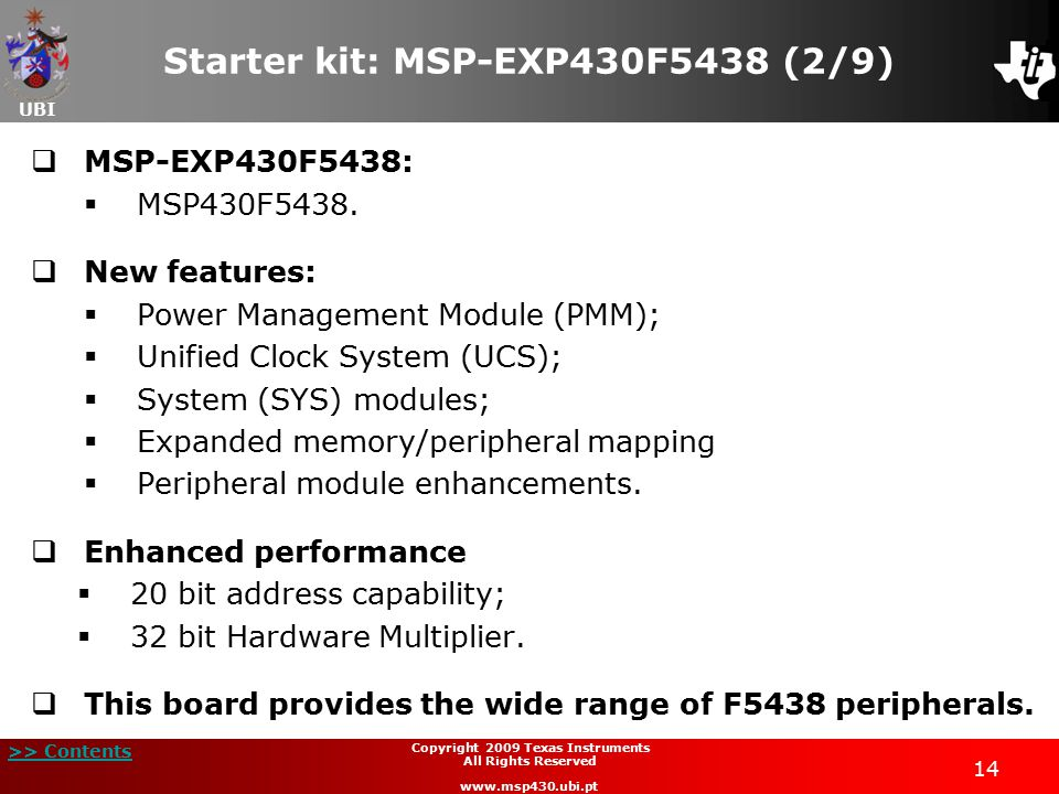 Starter kit: MSP-EXP430F5438 (2/9)