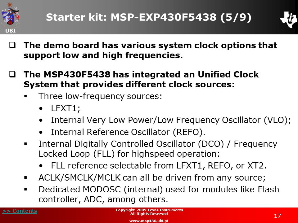 Starter kit: MSP-EXP430F5438 (5/9)