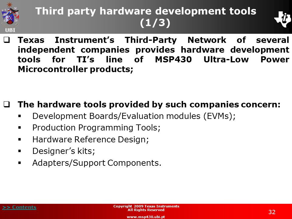 Third party hardware development tools (1/3)
