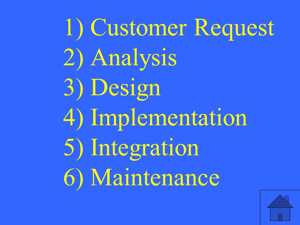 1) Customer Request 2) Analysis 3) Design 4) Implementation 5) Integration 6) Maintenance