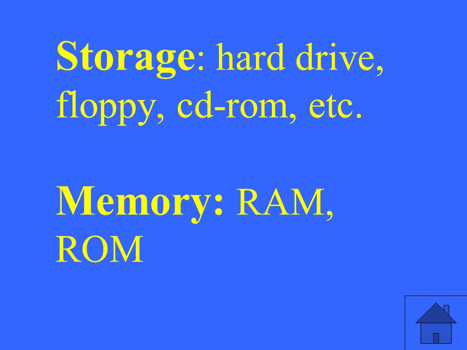 Storage: hard drive, floppy, cd-rom, etc. Memory: RAM, ROM