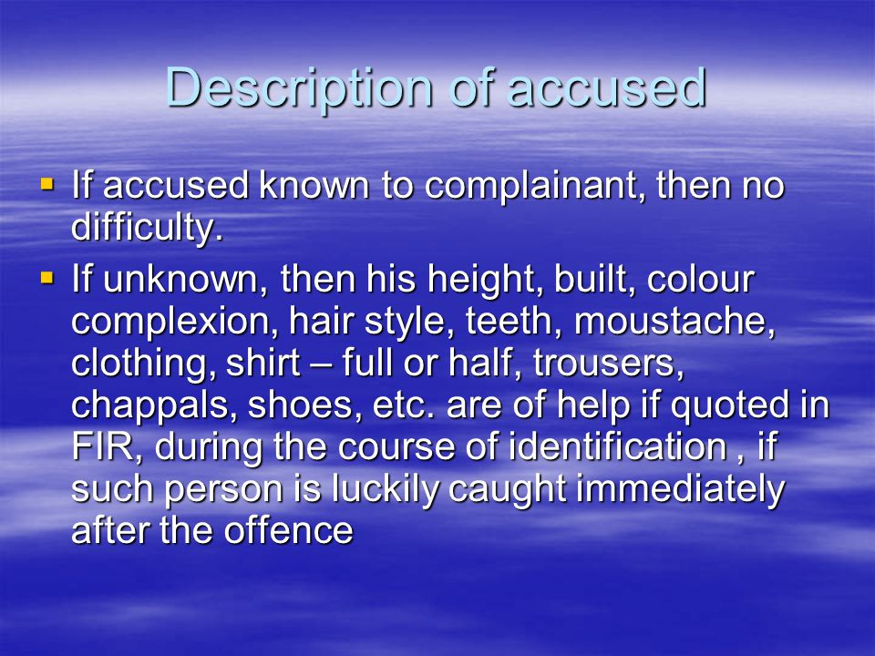 Description of accused