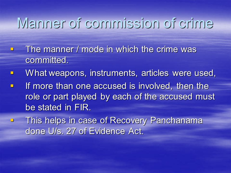 Manner of commission of crime