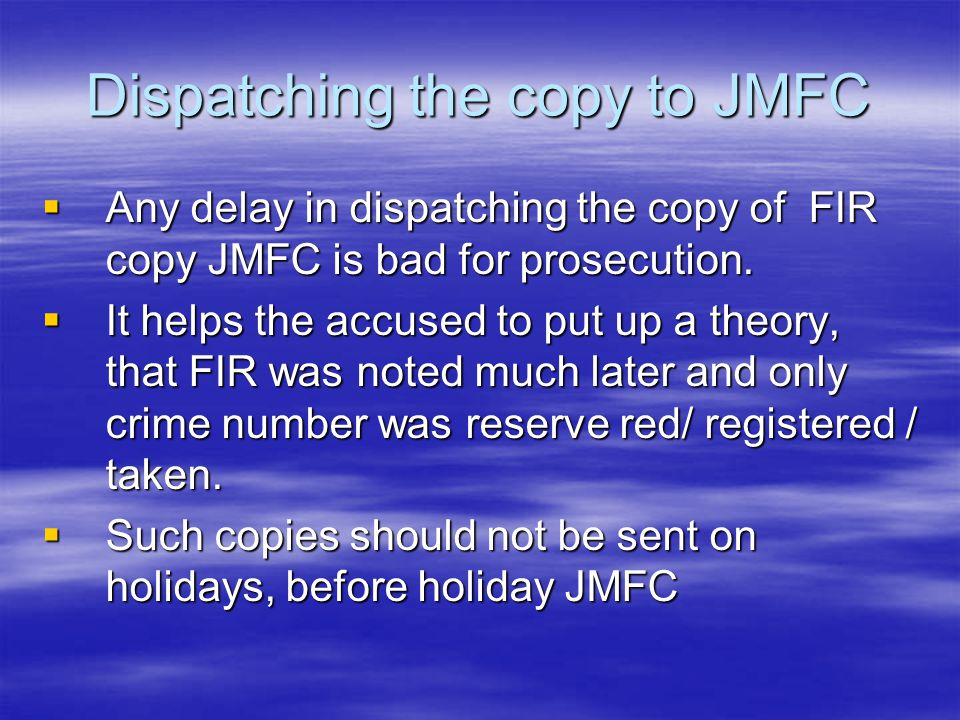 Dispatching the copy to JMFC