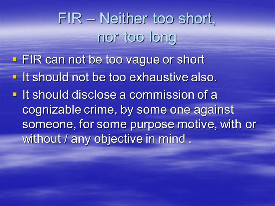 FIR – Neither too short, nor too long