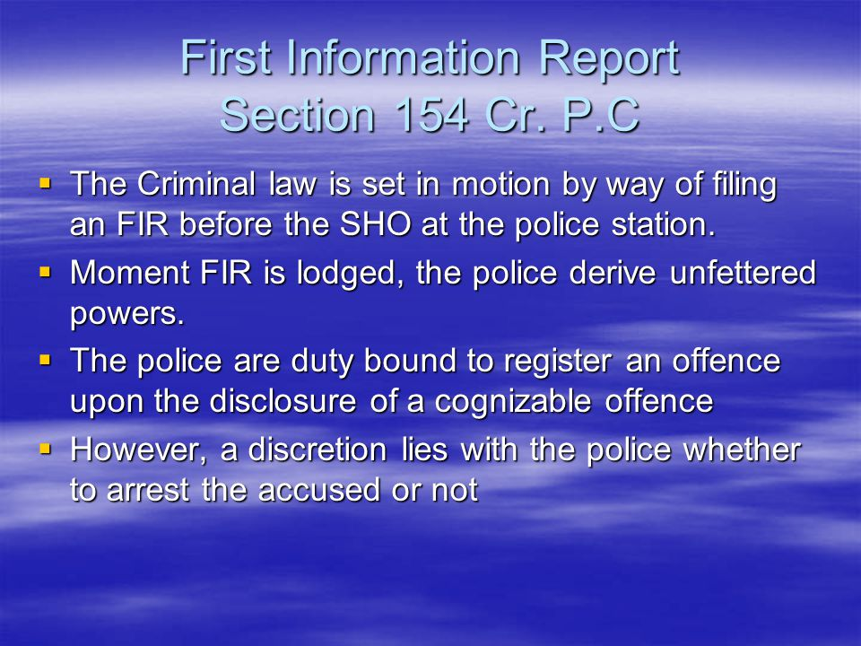 First Information Report Section 154 Cr. P.C