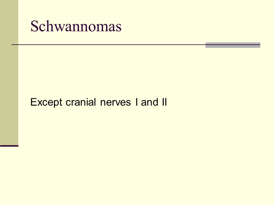 Schwannomas Except cranial nerves I and II