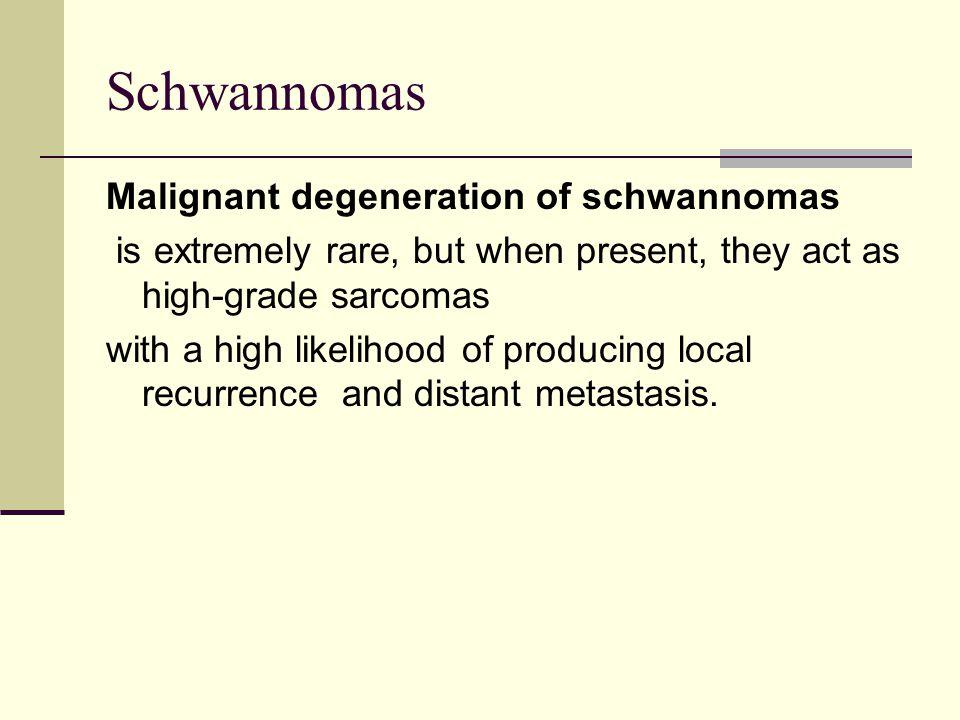 Schwannomas Malignant degeneration of schwannomas