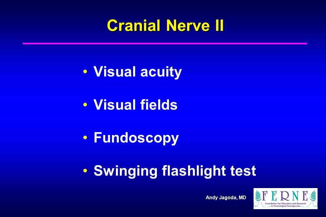 Cranial Nerve II Visual acuity Visual fields Fundoscopy