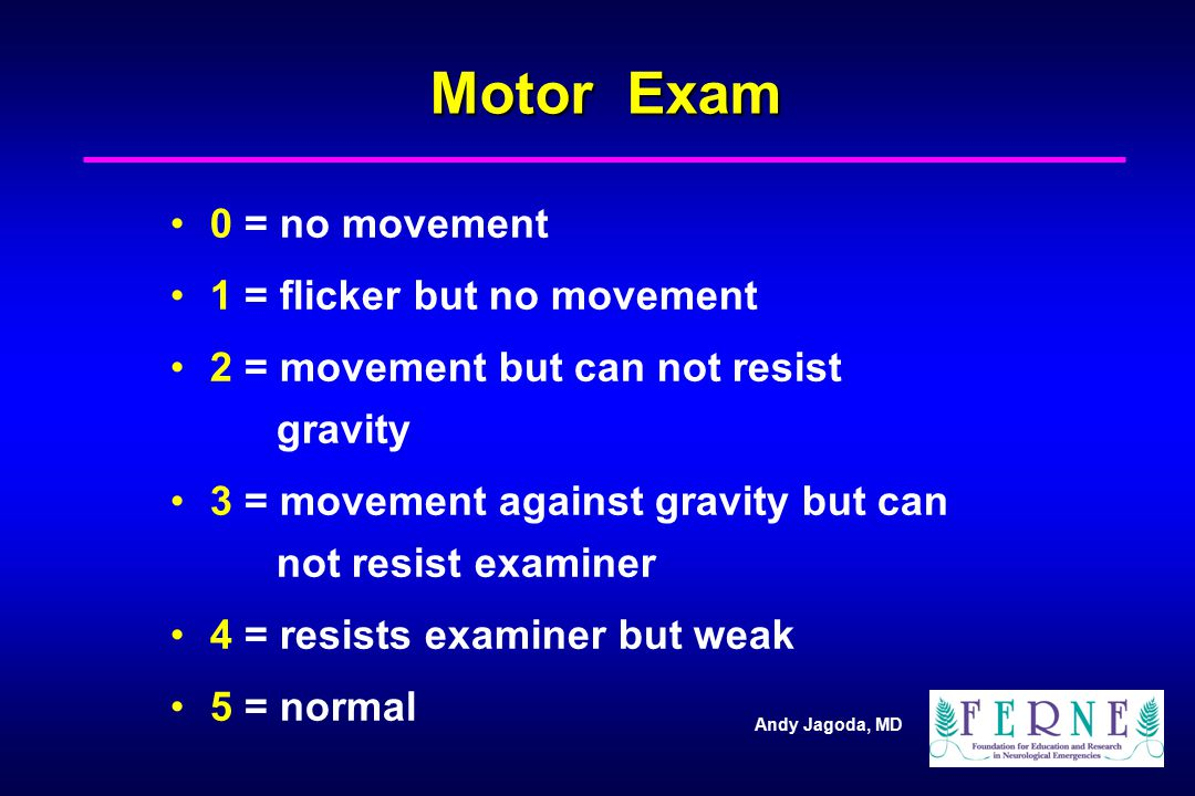 Motor Exam 0 = no movement 1 = flicker but no movement