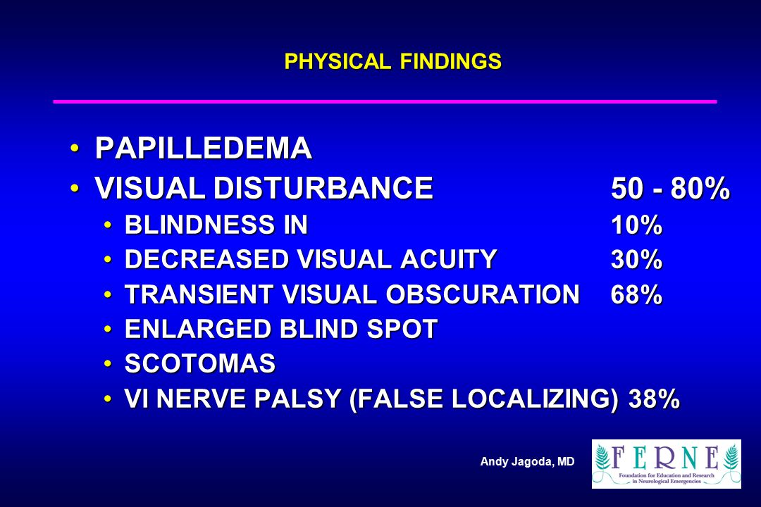 PAPILLEDEMA VISUAL DISTURBANCE 50 - 80% BLINDNESS IN 10%