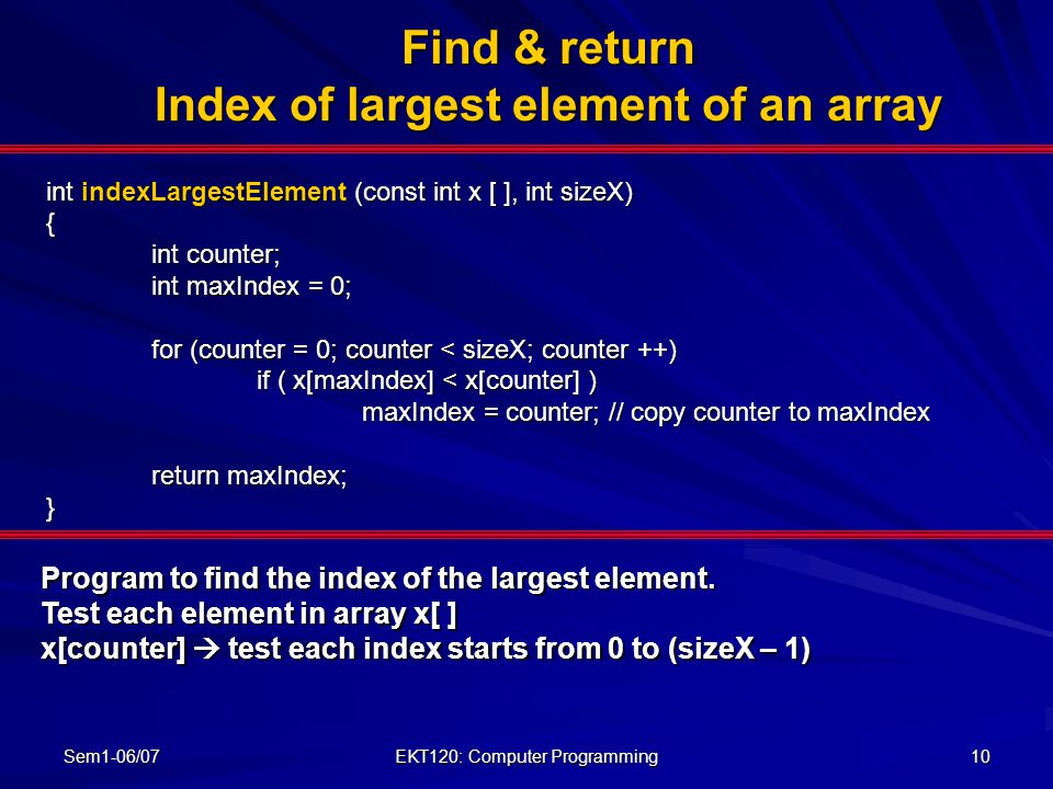 Find & return Index of largest element of an array