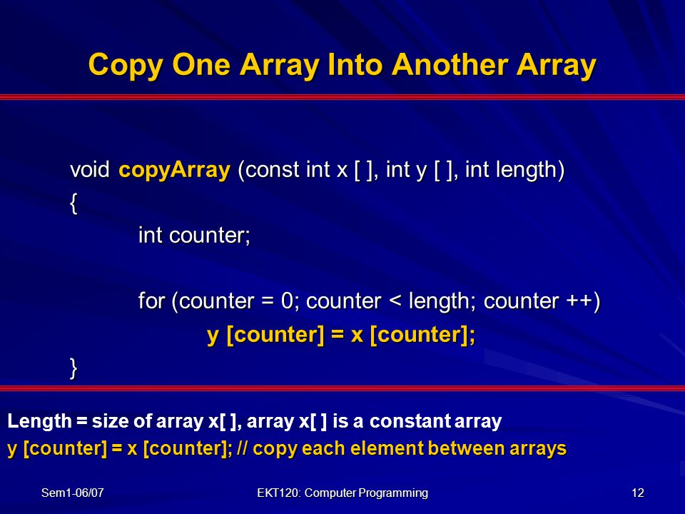Copy One Array Into Another Array