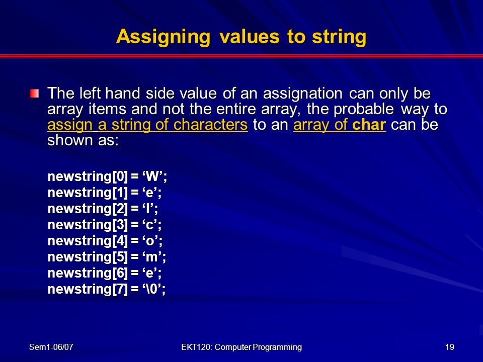 Assigning values to string