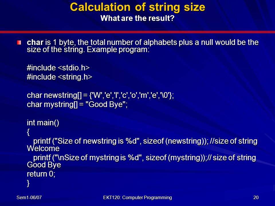 Calculation of string size What are the result
