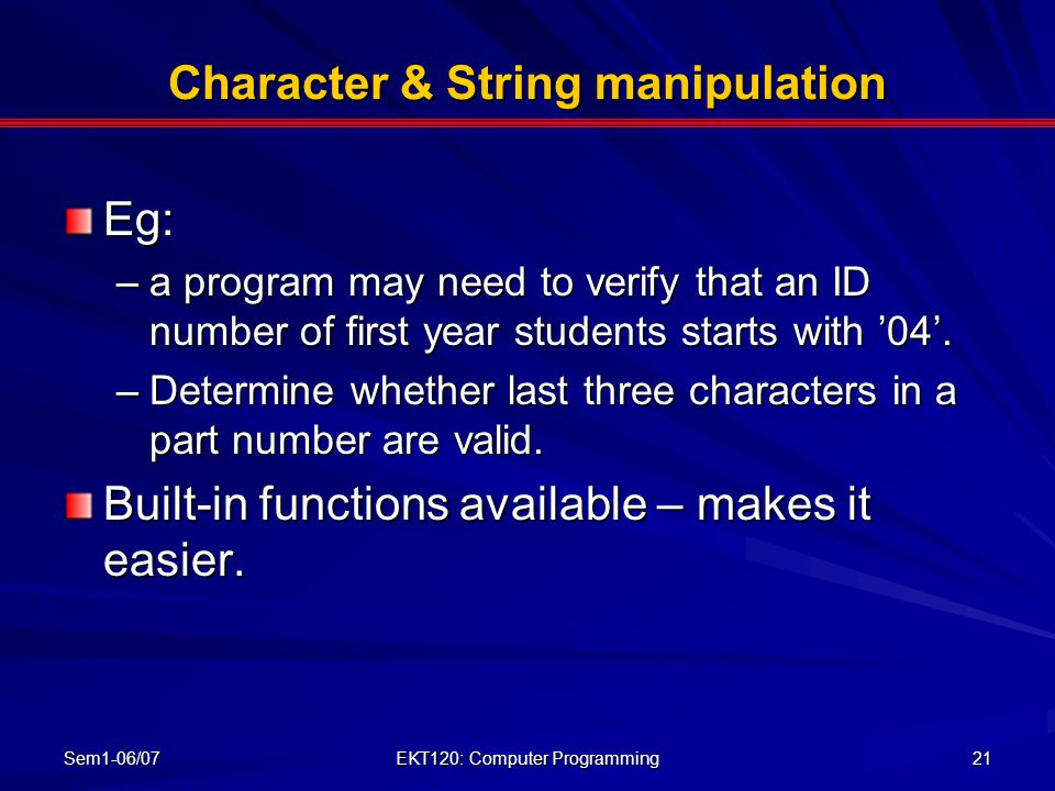 Character & String manipulation
