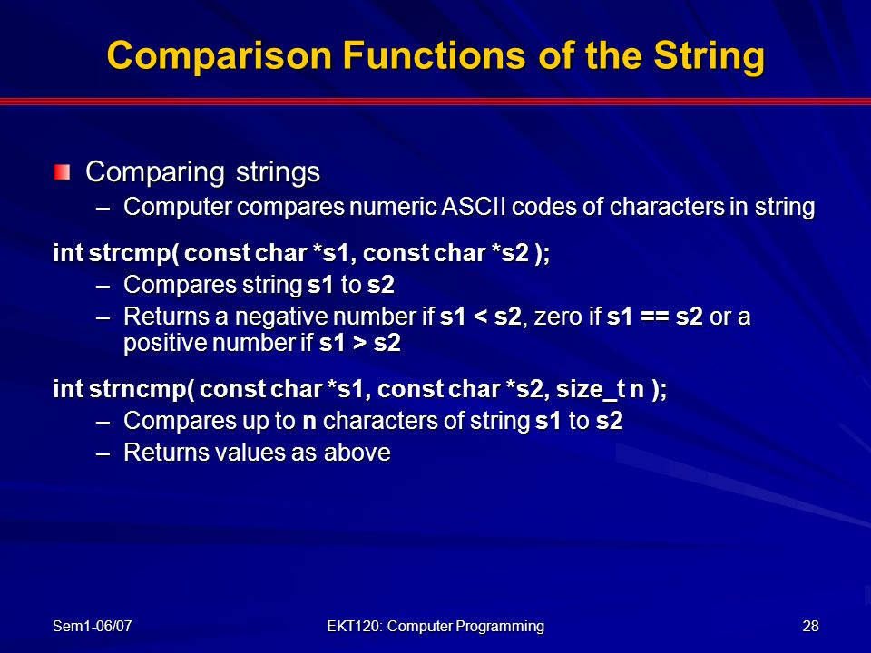 Comparison Functions of the String