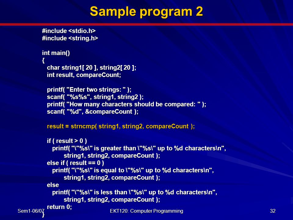 EKT120: Computer Programming