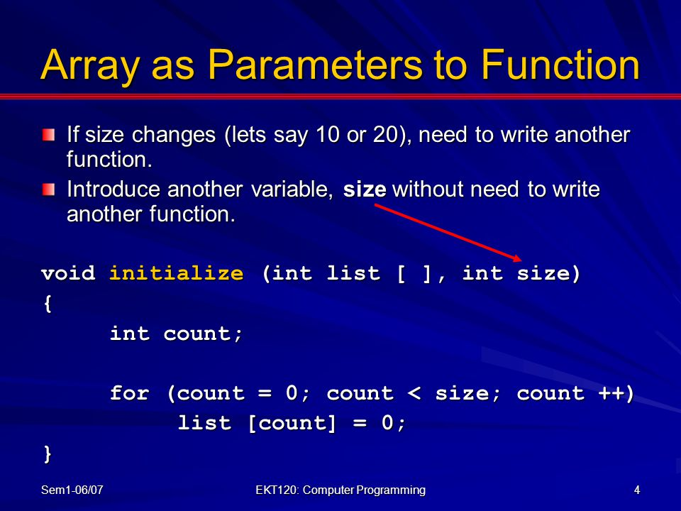 Array as Parameters to Function