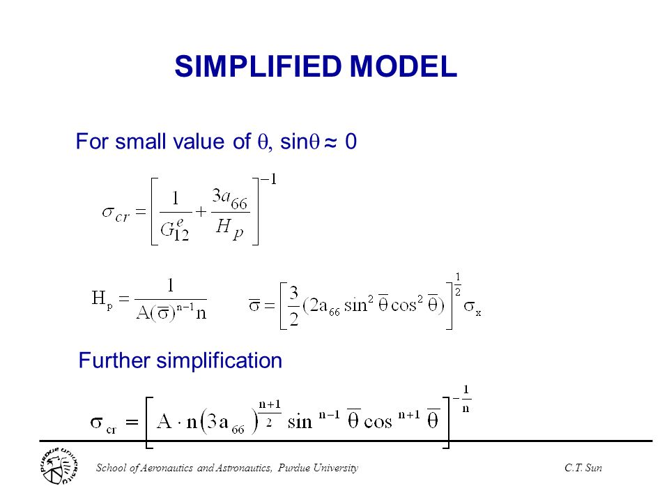 SIMPLIFIED MODEL For small value of q, sinq 0 ~ ~