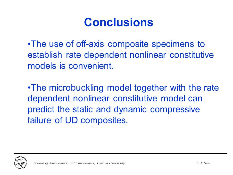 Conclusions The use of off-axis composite specimens to