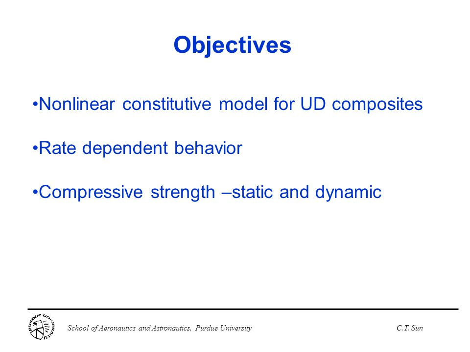 Objectives Nonlinear constitutive model for UD composites