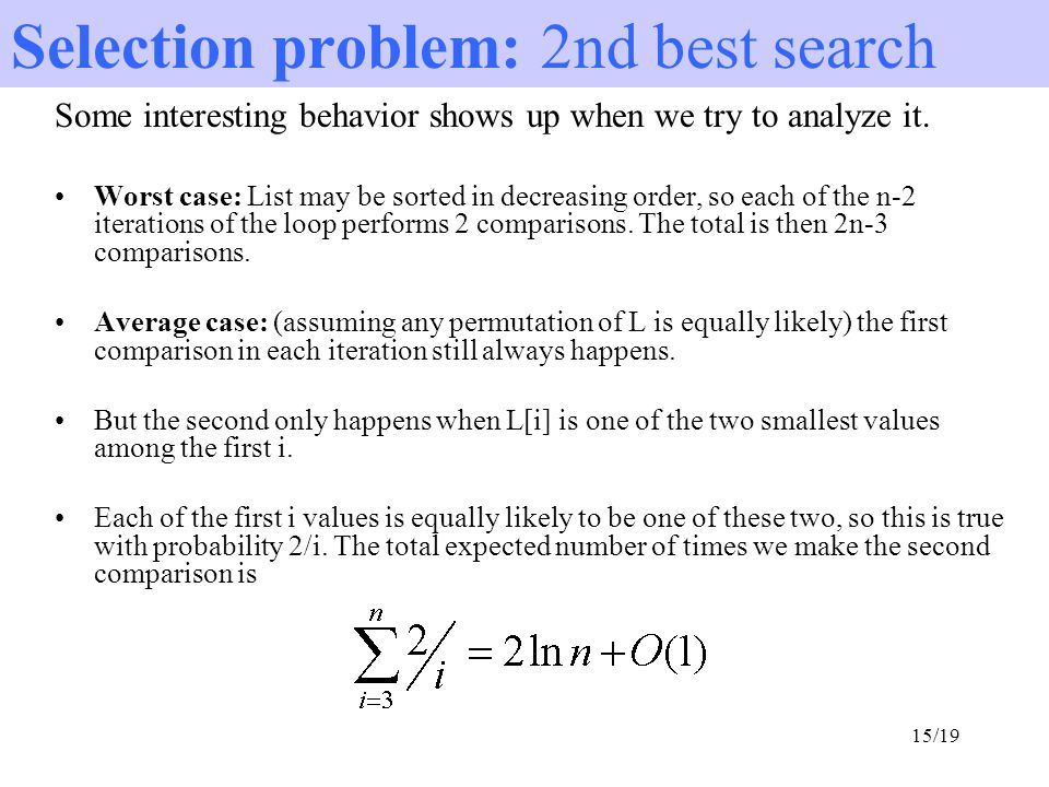 Selection problem: 2nd best search