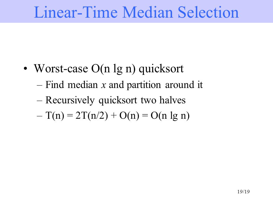Order statistics sorted ppt video online download linear time median selection ccuart Images