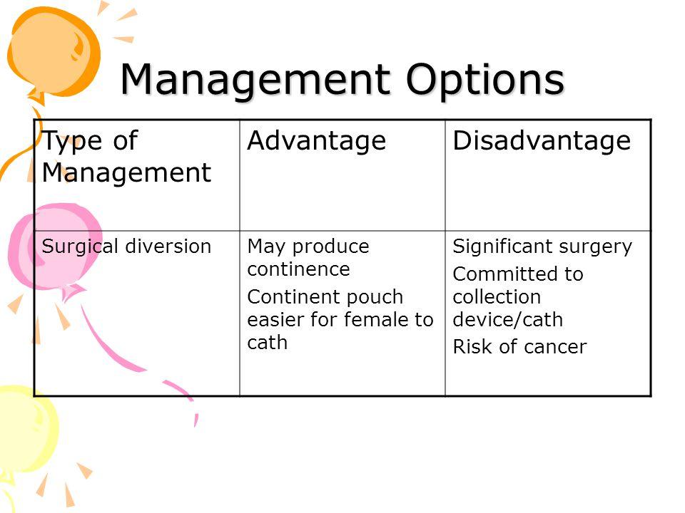 Management Options Type of Management Advantage Disadvantage