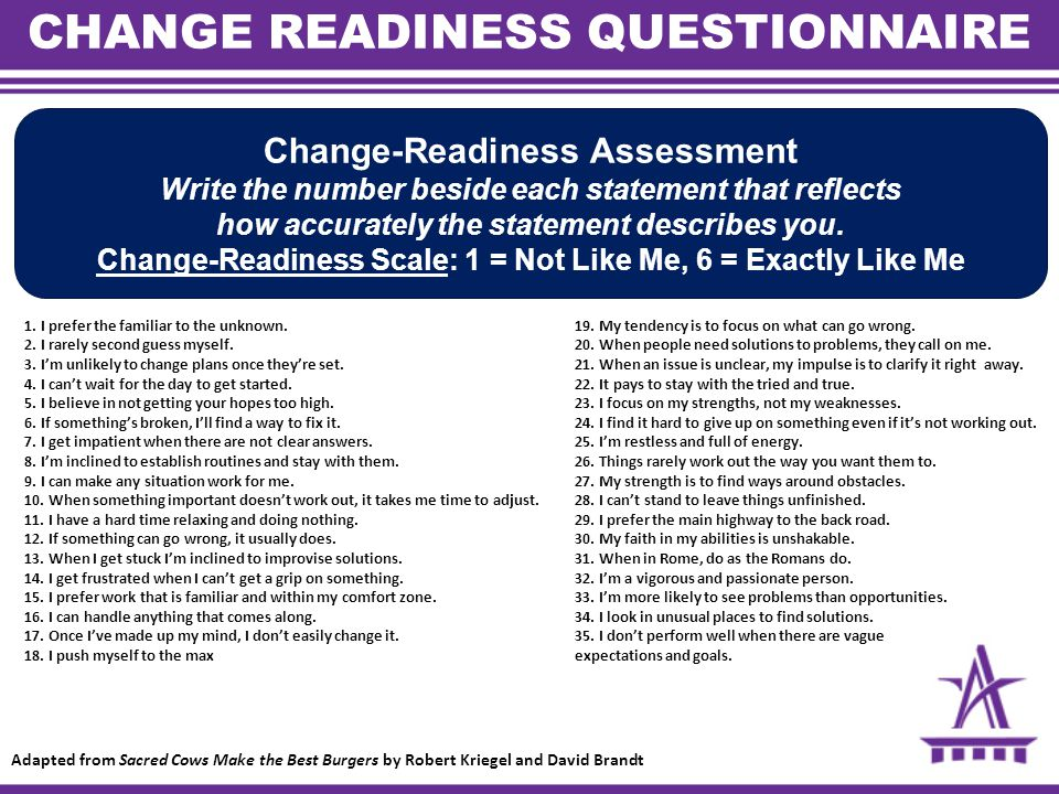 CHANGE READINESS QUESTIONNAIRE