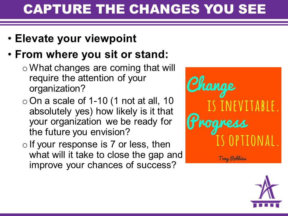 CAPTURE THE CHANGES YOU SEE