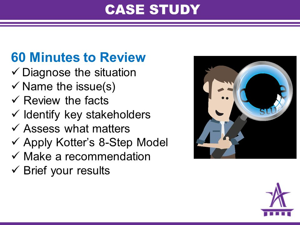 CASE STUDY 60 Minutes to Review Diagnose the situation