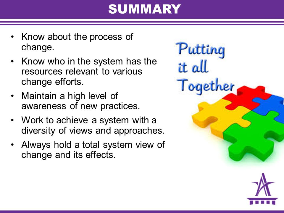 SUMMARY Know about the process of change.