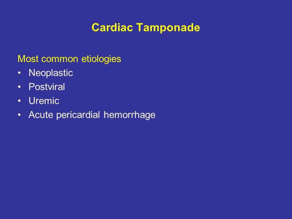 Cardiac Tamponade Most common etiologies Neoplastic Postviral Uremic