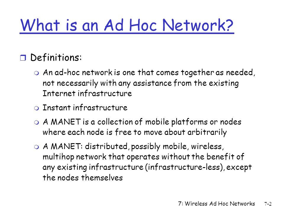 What is an Ad Hoc Network
