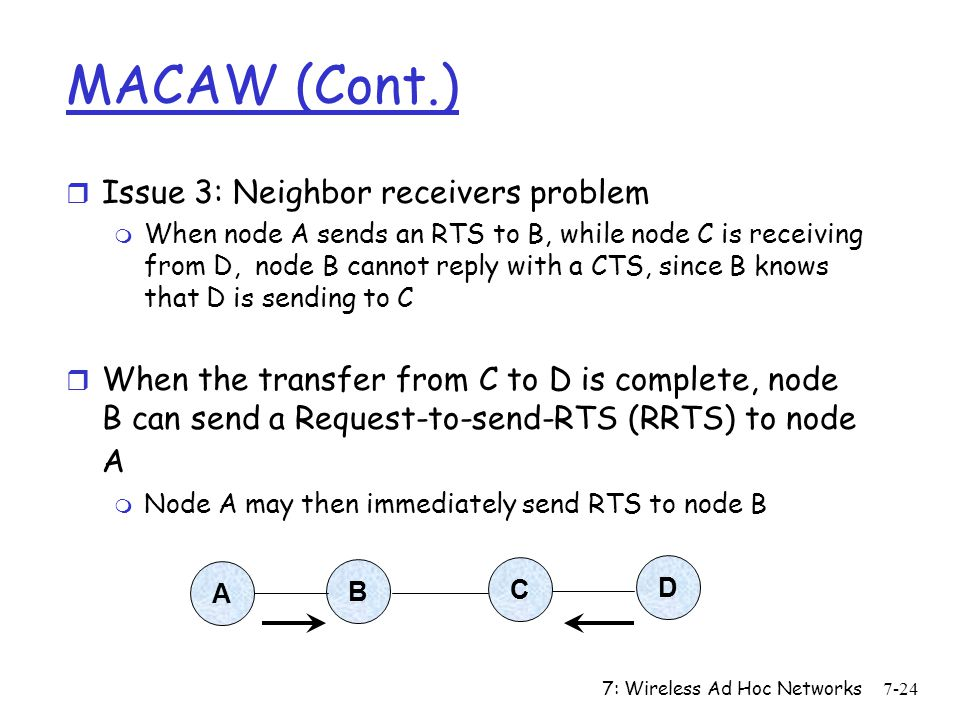 MACAW (Cont.) Issue 3: Neighbor receivers problem