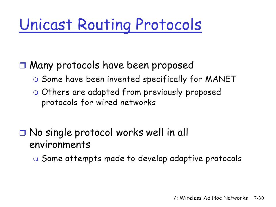 Unicast Routing Protocols