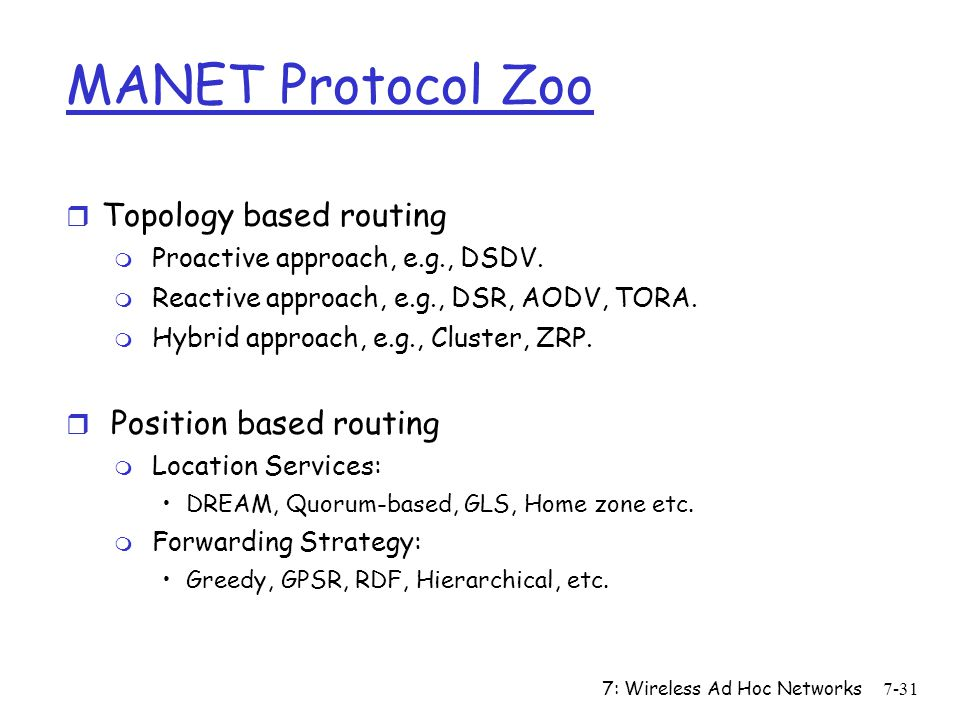 MANET Protocol Zoo Topology based routing Position based routing