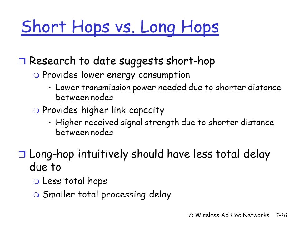 Short Hops vs. Long Hops Research to date suggests short-hop