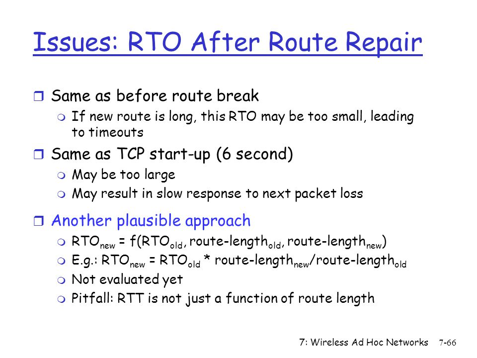 Issues: RTO After Route Repair